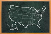 America map draw on grunge blackboard — Stock Photo