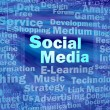 sociale media concept in blauwe virtuele ruimte — Stockfoto #9471213