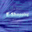 Stock Photo: E-shopping concept in blue virtual space