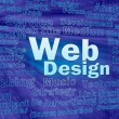 Web design concept in blue virtual space — Stock Photo