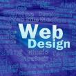 Web design concept in blue virtual space — Stock Photo