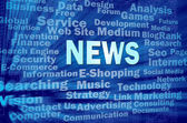News concept on blue virtual space with related words — Stock Photo