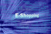 E-shopping concept in blue virtual space — Stock Photo