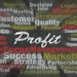 Profit word with business related words — 图库照片