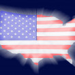 Americmap with flag shinning on screen — Stock Photo #9643698
