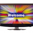 Welcome word with colorful rays show on screen — Stockfoto