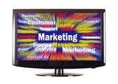 Marketing mot avec rayons colorés sur écran — Photo
