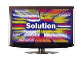 Palabra de solución con rayos de colores en pantalla — Foto de Stock