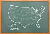 Mapa da américa desenhar na lousa grunge — Foto Stock