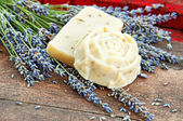 Home-made soap with lavender — Stock Photo