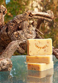 Handmade soap still life (lavender) — Stock Photo