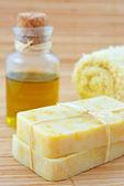 Hand-made marigaold soap — Stock Photo