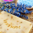 Home-made lavender soap with bath salt — Stock fotografie