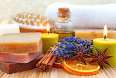 Home-made soap in wellness still life — Stock Photo