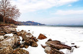 Lake Balaton in winter time,Tihany,Hungary — Stock Photo