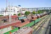 Freight railroad cars in the port of city Odessa — Stock Photo