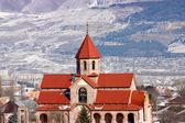 Surb Vardan church and Caucasus Mountains. — Stock Photo