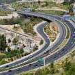 Stock Photo: Highway with many cars in Jerusalem, top view