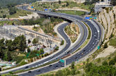 Highway with many cars in Jerusalem, top view — Stock Photo