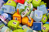 Close up of hanukkah dreidels — Stock Photo