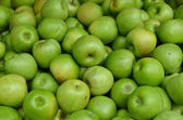 Close up of green apples on market stand — Stock Photo