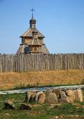 Träkyrkan i zaporizhian sich, ukraina — Stockfoto