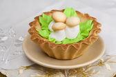 Ciasto z grzybami ozdobny — Zdjęcie stockowe