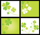 Lucky four leaf clover cards — Vettoriale Stock