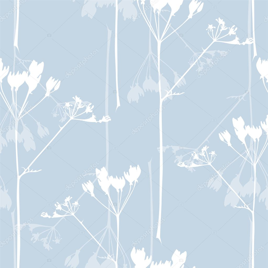 Elegant seamless pattern with abstract flowers in soft blue colors for your design — Stock Vector #10368622