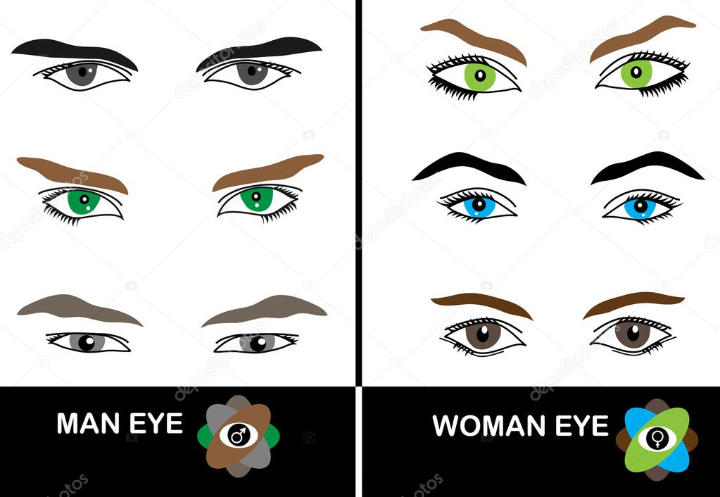 Set of beautiful man and woman eyes set for your design — Stock Vector #10536497