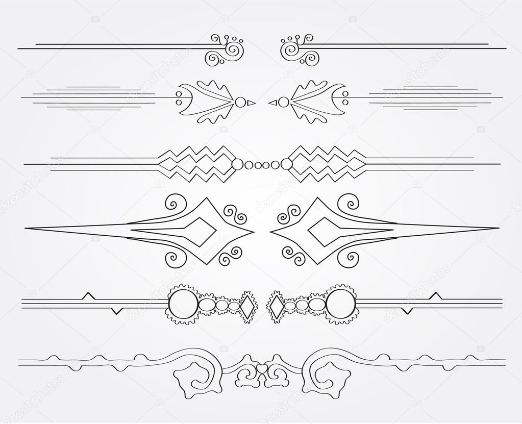 Ensemble de bordures de pages décoratives — Image vectorielle ...
