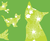 Floral cats — Stock Vector