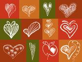 12 abstraktní srdce — Stock vektor