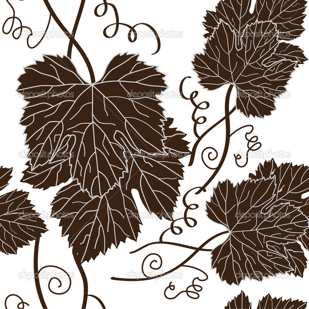 Seamless pattern with beautiful grape leaves in brown white colors — Stock Vector #9071657