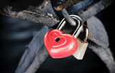 Red heart shaped lock — Stock Photo