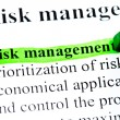 Risk management definition highlighted by green - Stock Photo