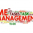 Time management in word tag cloud - Stock Photo