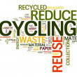 Recycling in word tag cloud - Stock Photo