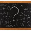 Questions whitten on blackboard — Stock Photo
