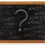 Questions whitten on blackboard — Stock Photo
