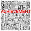 Foto Stock: Achievement concept in tag cloud