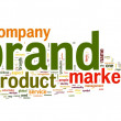 Brand concept in word tag cloud — Stock Photo