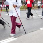 Nordic walking in motion blur — Stock Photo