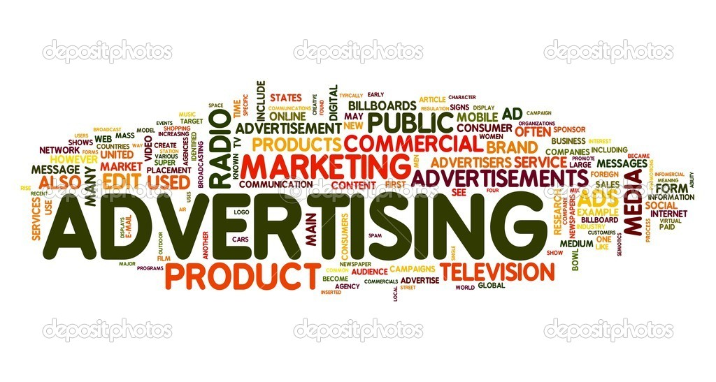Advertising word concept in tag cloud on white background — Stock Photo #8597976