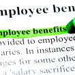 Employee benefits definition highlighted by green marker on white — Stock Photo #8745347
