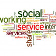 Social network in tag cloud — Stock Photo