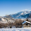 Small cottage in alps in winter — Stock Photo