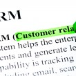 Stock Photo: CRM customer relationship management definition highlighted by green marker