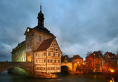 Altes Rathaus (The Old Town Hall) in dusk. Bamberg, Bavaria. — Stock Photo