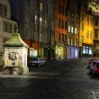 Historic buildings and drinking fountain on Victoria St. Edinbur - Stock Photo